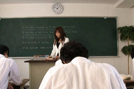 Nana Konishi Hot Asian teachher spreads her legs