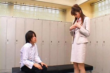 Erika Kirihara Pretty Asian teacher teaches sex