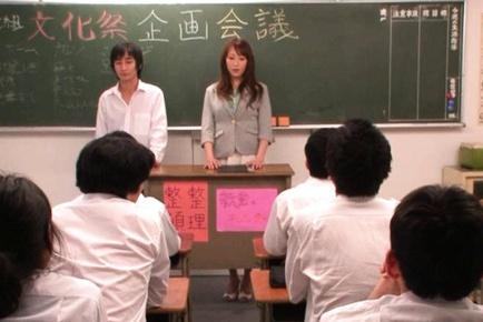 Asian teacher enjoys not wearing panties in school