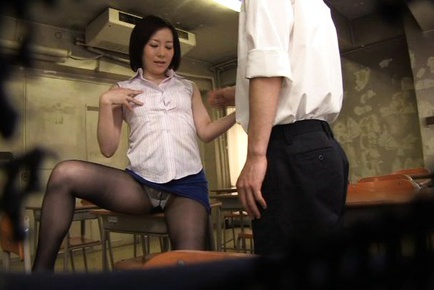 Sexy milf Nade Tomoseka dressed up as teacher during hardcore sex
