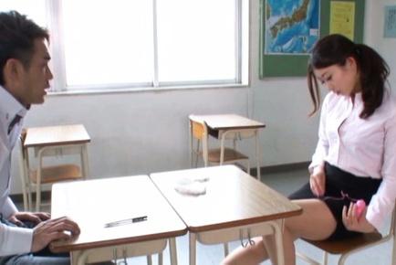 Sexy teacher uses vibrator for satisfaction