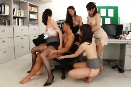 Hot Japanese female teachers go insane and fuck a sexy guy