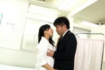 Japanese nurse sucks cock before having her pussy ravished