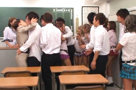 Amazing girls in hot group hardcore at school