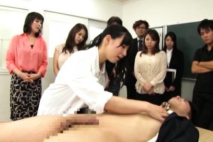 Skillful mature teachers arrange hand work at a meeting