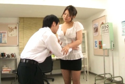 Busty milf Meguri shows off her curvaceous body and rides cock