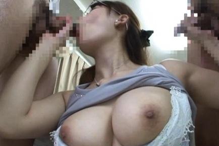 Frisky Asian chick in glasses Yuuka Tachibana sucks three cocks