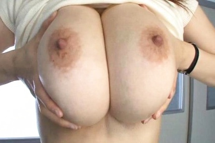 Busty bombshell Anri Okita boasts of her big tits gets squeezed