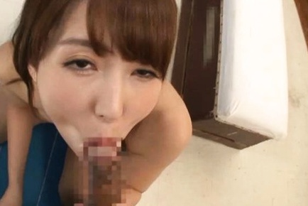 Yui Hatano busty Asian female sucks on a juicy dong